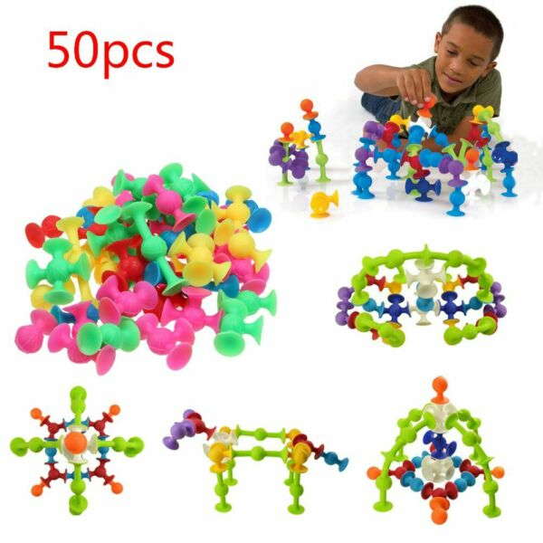 50Pcs/Set Kids Sucker Cup Puzzle Toy Deluxe Building Blocks Squigz Developing