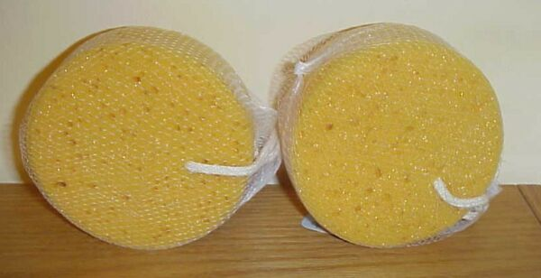 Set of 2 ~ Natural Round Bath & Shower Sponge Sponges Body NEW in package