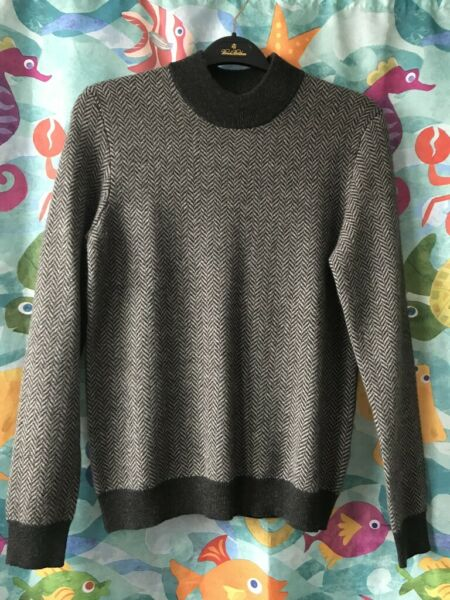 NWT Mens Tasso Elba Charcoal Heather 100% Cashmere Herringbone Sweater Small
