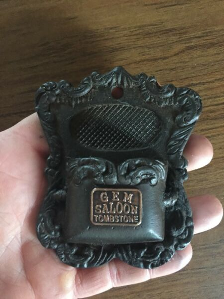 Cast Iron Match Holder Mantle Fireplace Gem Saloon Tombstone Brass Plated