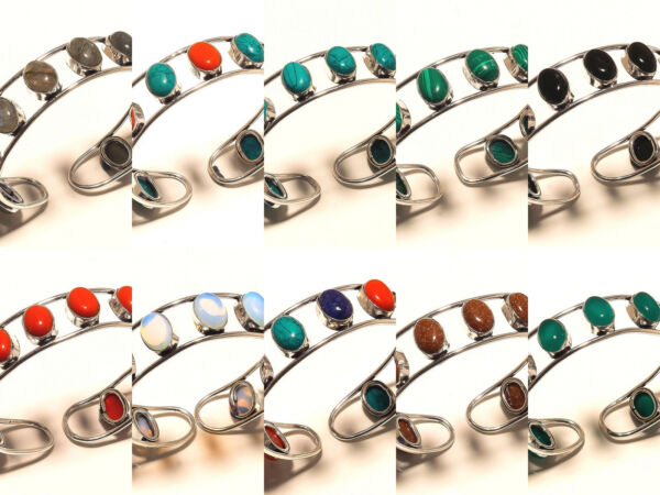 New Year Sale Offer Silver Plated 50PCs Sunstone Mix Handmade Cuff Jewelry