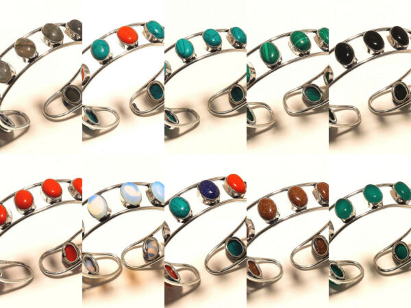 New Year Sale Offer Silver Plated 50PCs Sunstone Mix Gemstone Cuff Jewelry