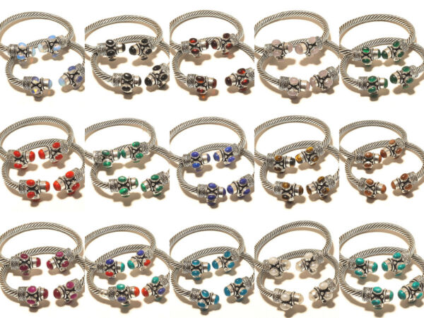 Cute Silver Plated 50PCs Lapis Lazuli Mix Gemstone Cuff Jewelry
