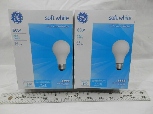 8 NEW GE 60 watt Incandescent Light Bulb A19 Soft Warm White 2800K Dimmable