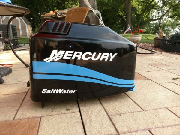 MERCURY BOAT MOTOR COWL DECAL SET Saltwater Series Blue Stripe Size Choices $43.95