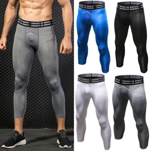 Men 34 Compression Pants Base Layer Sports Fitness Gym Workout Trousers Tights