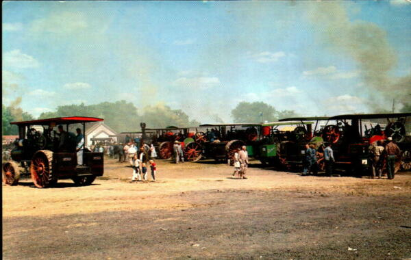 Postcard  Midwest Old Settlers & Threshers Mt. Pleasant Iowa Steam Engines