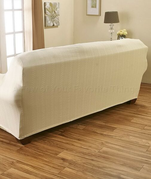 Darla Stretch Cable Slipcover Loveseat Cover Natural 1 Pc $34.87