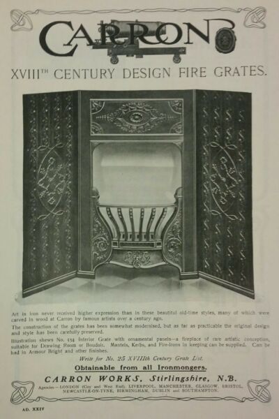 1902 Carron fire grates 18th century design 7 3 8quot; x 11 3 quot; from The Studio
