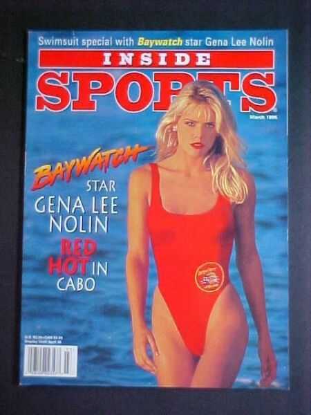 MARCH 1996 INSIDE SPORTS- SWIMSUIT ISSUE! GENA LEE NOLIN of  BAYWATCH COVER!