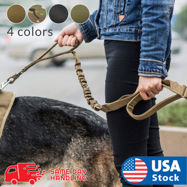 Retractable nylon rope Dog Leash Tactical K9 for large dog Heavy duty coupler $10.98