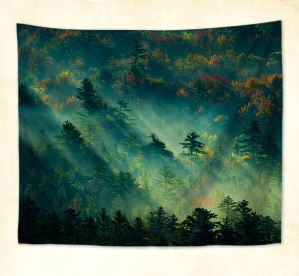 misty forest landscape tree wall hanging tapestry cool wall art