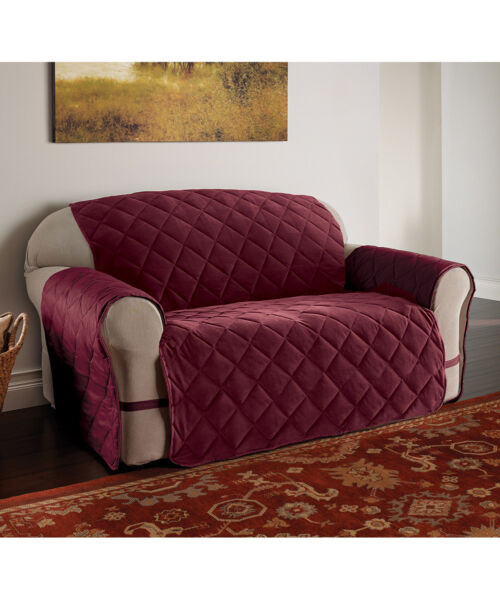 Burgundy Microfiber Ultimate Furniture Protector Loveseat NIP $12.00