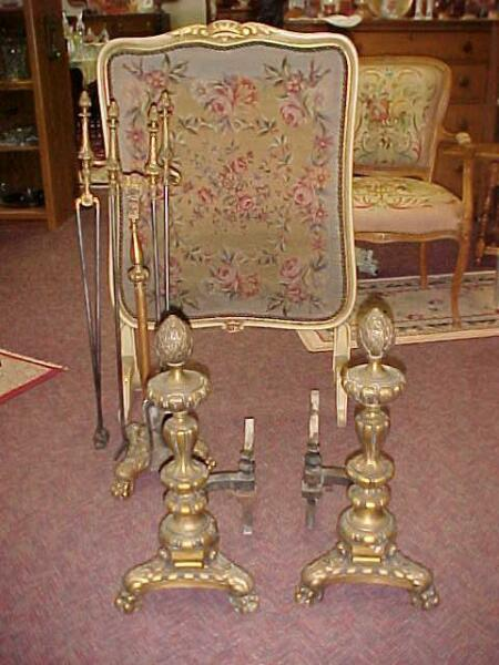 1908 Wm H JACKSON BRASS FIREPLACE ANDIRONS TOOL SET CLAW FEET IMPRESSIVE