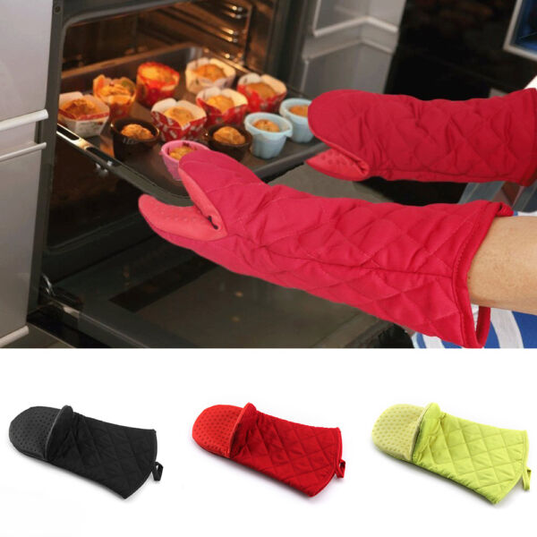 Kitchen Cooking Long Silicone Heat Resistant Mitt Oven Insulated Gloves Mittens