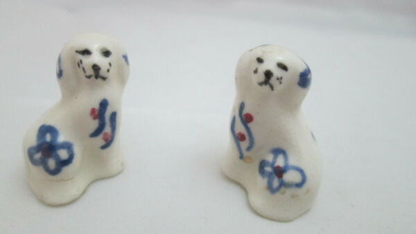 2 Miniature Ceramic Dogs White with Blue Floral accents $14.99