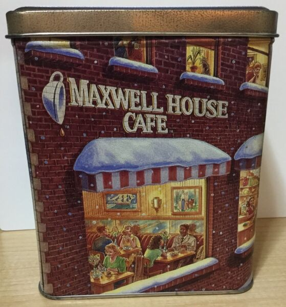 Collectible Maxwell House Cafe Tin Empty Winter Holiday Streetscape Design