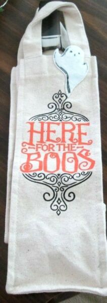 CELEBRATE HALLOWEEN HERE FOR THE BOOS WINE BOTTLE COVER BAG NEW