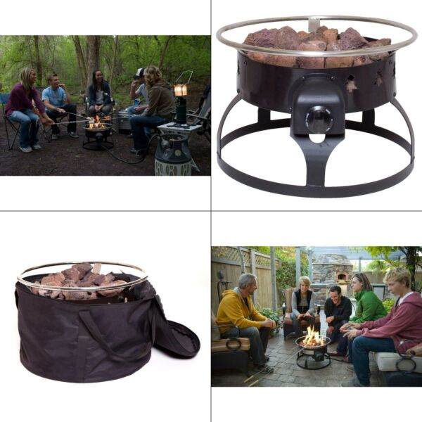 redwood portable propane gas fire pit  camp chef black steel outdoor ring with