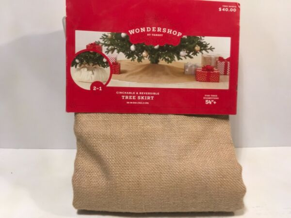 Wondershop Christmas Tree Skirt Burlap Brown Cinchable Reversible 56quot; Target