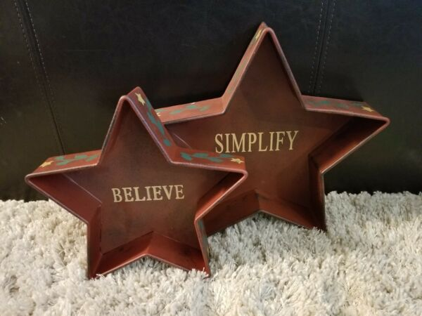 Set of 2 Red Rustic Country Metal Christmas Holiday Stars Decor Farmhouse 11