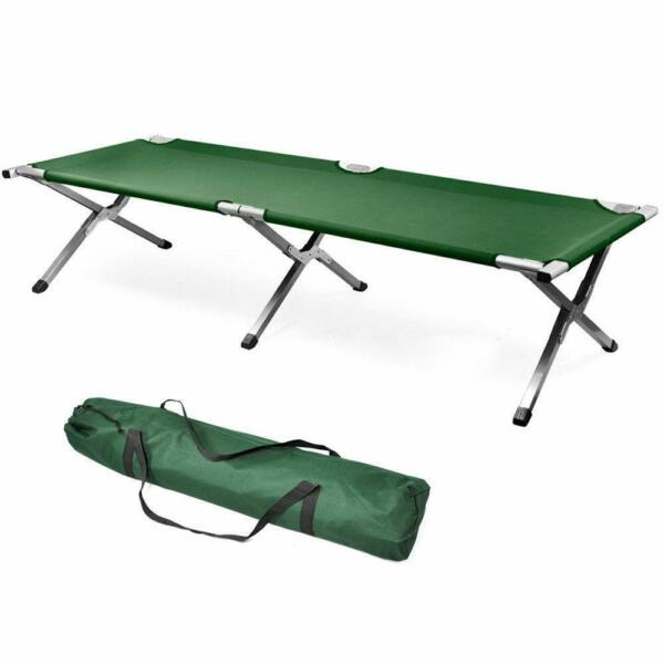 Green Fold up Bed Folding Portable for Camping Military Style w Bag $39.99