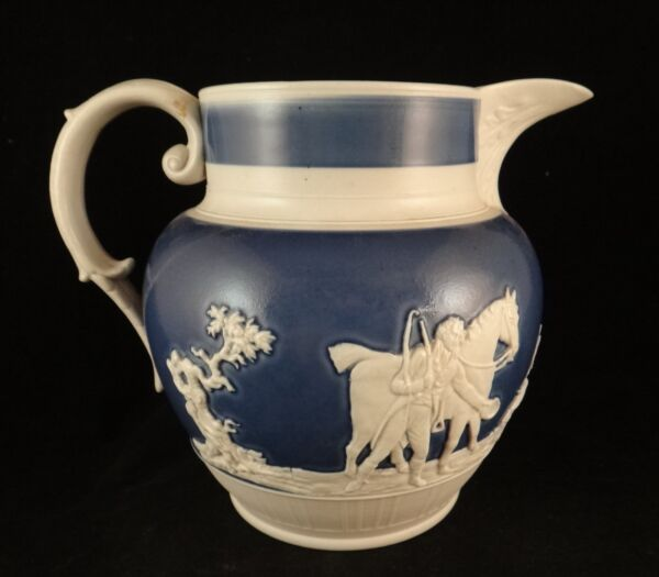 "Early English Staffordshire Ironstone Pitcher. c. 1820's. 6 38"" tall 7 ¾"" wide"