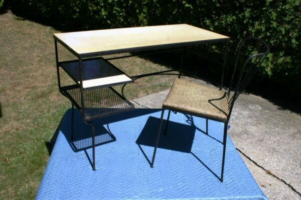 Mid Century - Paul McCobb Style Iron Desk & Chair Set