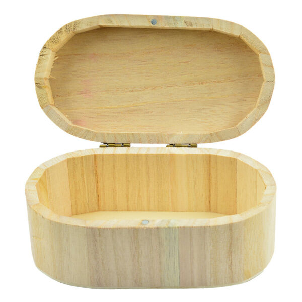 Oval Shape Unfinished Wood Wooden Box Jewelry Gift Box Case for DIY Craft