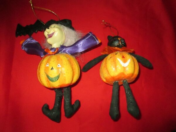 Set of 2 Large Unique Halloween Ornaments Black Cat Witch With Pumpkin Bodies $29.99