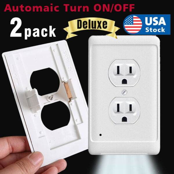 Pack of 10 Outlet wall plate with led night lights Covers with Sensor Automatic