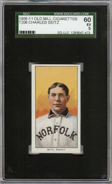 Rare 1909-11 T206 Charles Seitz Old Mill Southern League Norfolk SGC 60  5 EX