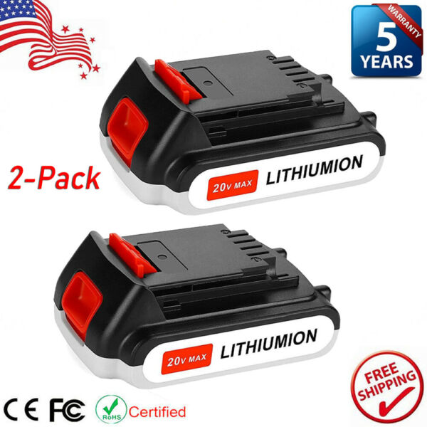 2X For Black amp; Decker 20V Lithium Ion Battery 20 Volt Li Ion LBXR20 LB20 3.0Ah