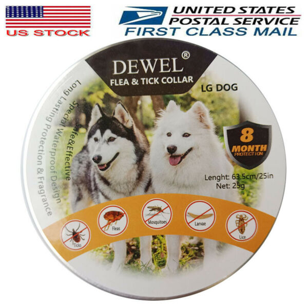 Dewel Pro Guard Flea and Tick Control Collar for Large Dog Over 18lb 8 Month NEW