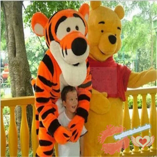 Yellow Bear &Tigger Mascot Costume Adult Cartoon Character Dress Xmas Parade Hot