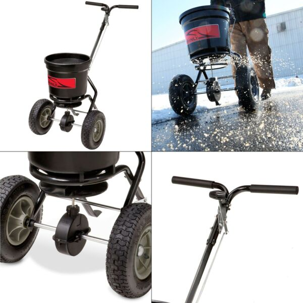 50 lb. capacity push broadcast spreader  tires steel poly hopper lawn pneumatic