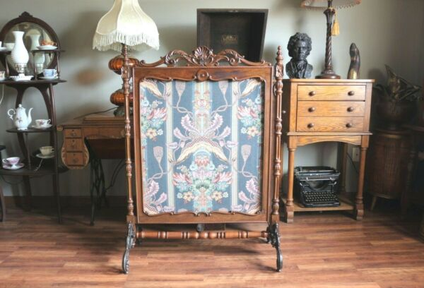 Antique Fireplace Screen with Beautiful Carving amp; Ornate Scrolled Cast Iron Legs