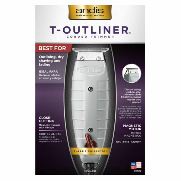 Andis Professional T-Outliner Trimmer with T-Blade Gray Model GTO (04710)