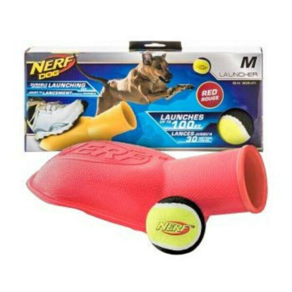 Nerf Dog-Tennis Ball Blaster Stomper 100 ft Launcher Fetch Toy Foot Activated
