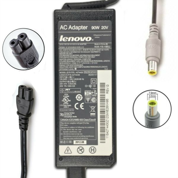 Genuine Lenovo ThinkPad Laptop AC Charger Power Adapter 90W 20V 4.5A ROUND TIP