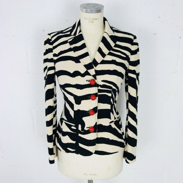 Womens Moschino Jacket Size 8 Tan Black Tiger Red Ball Buttons Made in Italy $189.99