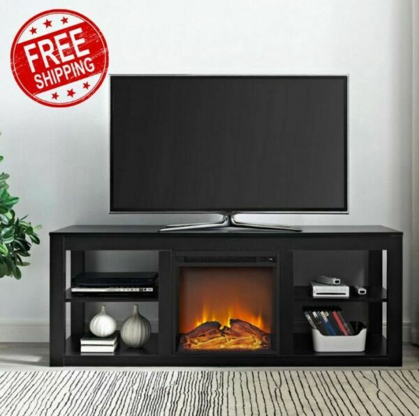 Fireplace TV Stand For 65 Flatscreen With Storage Electric Heater Modern Black