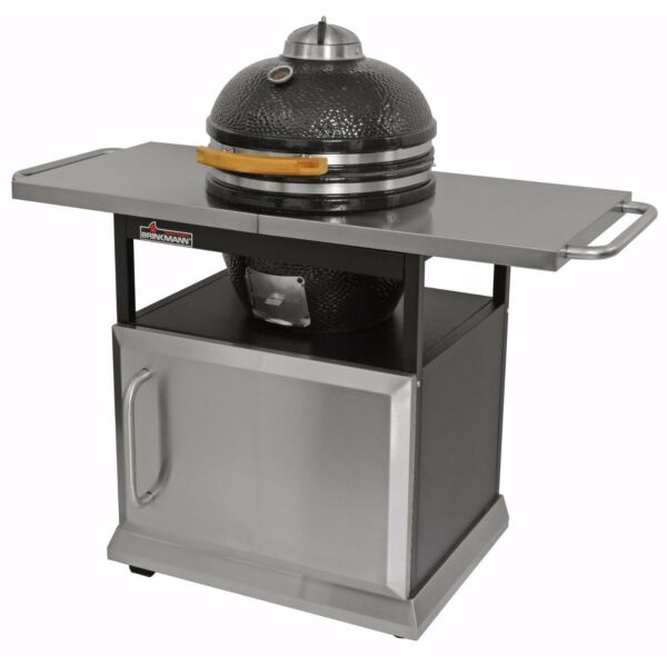 Brinkmann Trailmaster Ceramic Egg Charcoal Grill Smoker Stainless Cart amp; Cover