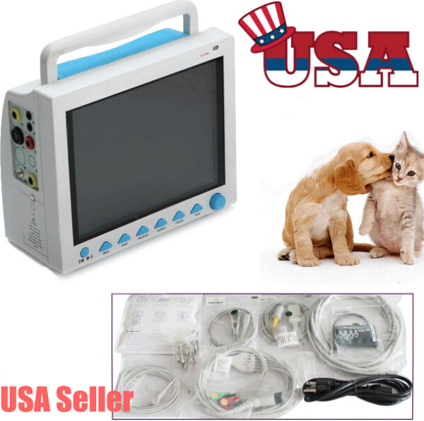 VET Patient Monitor ICU Vital Signs ECG NIBP SPO2 PR RESP TEMP Animal Veterinary