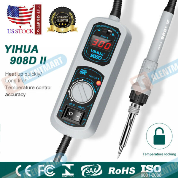 Electric Iron Display Soldering Station Welding Rework YIHUA 908D 60W 220V 110V