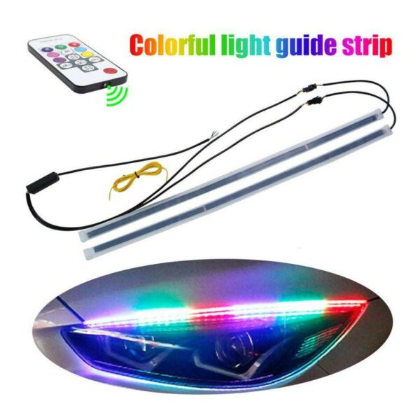LED Headlights Guide Strip Turn Signal DRL RGB Remote Control Multi Colour 45cm