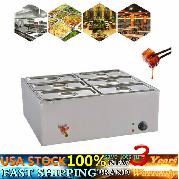 6-Pan Food Warmer Steam Table Steamer 6 Pots Large Capacity Portable 850W 110V