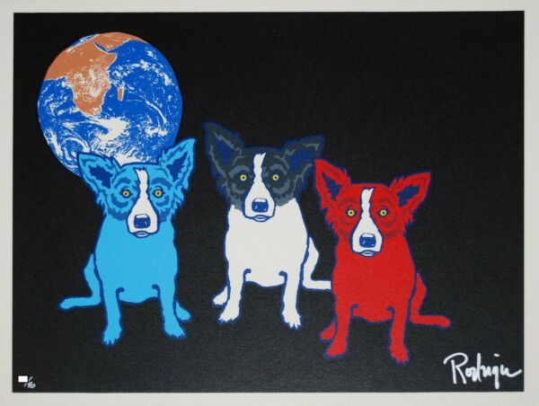 George Rodrigue Blue Dog Looking For The Moon Silkscreen Print Signed Artwork