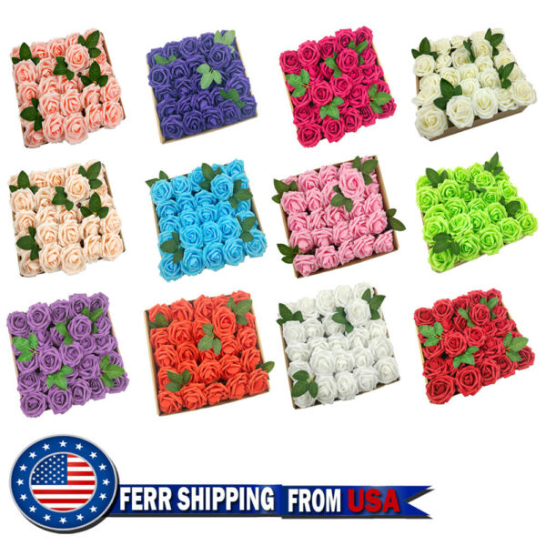 50 25pcs Artificial Flowers Real Looking Foam Roses Decoration DIY for Wedding $19.99