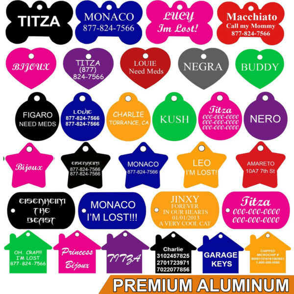 Pet ID Tags Pet Tags Dog Tags DOUBLE SIDED ENGRAVING PREMIUM ALUMINUM $3.25